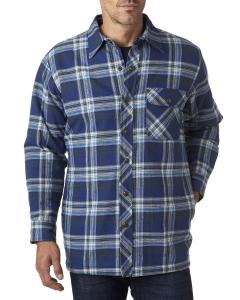 Blue/ Green Men's Flannel Shirt Jacket with Quilt Lining