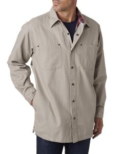 Stone Men's Canvas Shirt Jacket with Flannel Lining