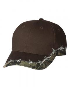 Brown/ Mossy Oak Country Camo Cap with Barbed Wire