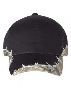 Black/ Realtree Edge Camo Cap with Barbed Wire