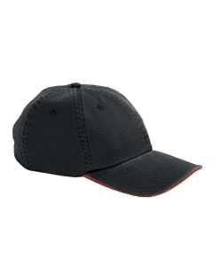 Black/red Washed Twill Sandwich Cap
