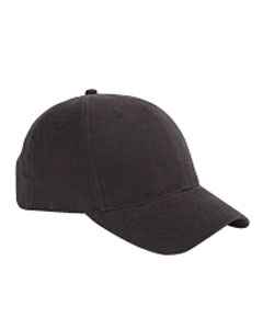Black 6-Panel Brushed Twill Structured Cap