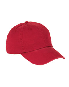 Red 6-Panel Washed Twill Low-Profile Cap