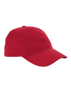 Red 5-Panel Brushed Twill Unstructured Cap