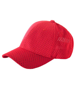 Red 6-Panel Structured Mesh Baseball Cap