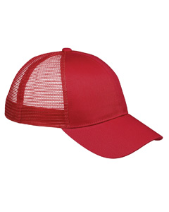 Red 6-Panel Structured Trucker Cap