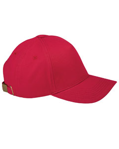 Red 5-Panel Brushed Twill Cap