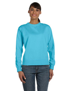 Lagoon Blue Women's 10 oz. Garment-Dyed Wide-Band Fleece Crew