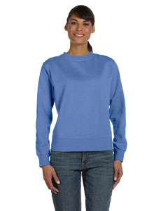 Flo Blue Women's 10 oz. Garment-Dyed Wide-Band Fleece Crew