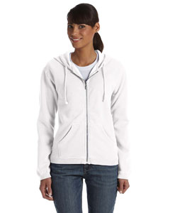 White Women's 10 oz. Garment-Dyed Full-Zip Hood