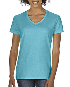 Lagoon Blue Ladies Midweight RS V-Neck T-Shirt
