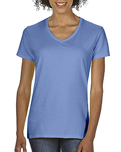 Flo Blue Ladies Midweight RS V-Neck T-Shirt