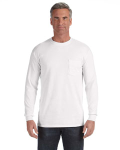 White Long-Sleeve Pocket T-Shirt
