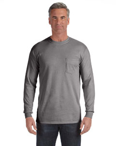 Grey Long-Sleeve Pocket T-Shirt