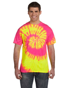 Fluorescent Swirl 5.4 oz., 100% Cotton Tie-Dyed T-Shirt