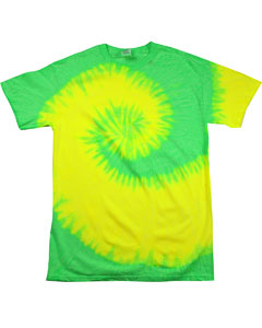 Flo Yellow/lime Youth 5.4 oz., 100% Cotton Tie-Dyed T-Shirt