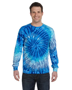 Blue Jerry 5.4 oz., 100% Cotton Long-Sleeve Tie-Dyed T-Shirt