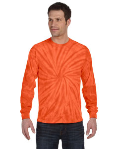 Spider Orange 5.4 oz., 100% Cotton Long-Sleeve Tie-Dyed T-Shirt