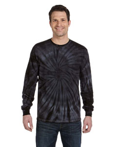 Spider Black 5.4 oz., 100% Cotton Long-Sleeve Tie-Dyed T-Shirt