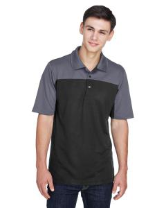Black/ Carbon Mens Balance Colorblock Performance Pique Polo