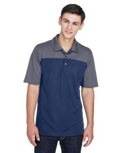 Classc Nvy/ Crbn Mens Balance Colorblock Performance Pique Polo