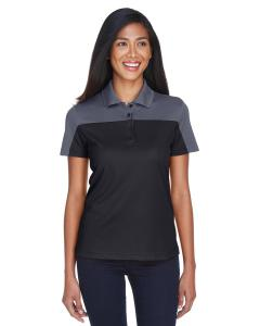 Black/ Carbon Ladies Balance Colorblock Performance Pique Polo