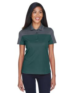 Forest/ Carbon Ladies Balance Colorblock Performance Pique Polo