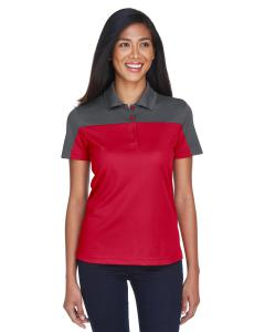 Classc Red/ Crbn Ladies Balance Colorblock Performance Pique Polo