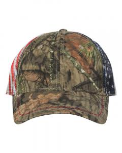 Mossy Oak Country Camo Cap with American Flag Mesh Back