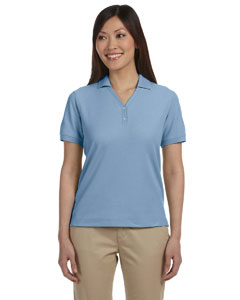 Slate Blue Women's Pima Piqué Short-Sleeve Y-Collar Polo