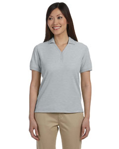 Grey Heather Women's Pima Piqué Short-Sleeve Y-Collar Polo