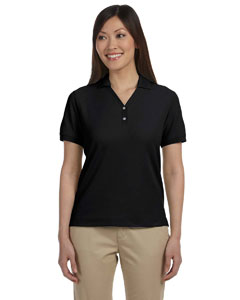 Black Women's Pima Piqué Short-Sleeve Y-Collar Polo
