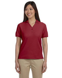 Burgundy Women's Pima Piqué Short-Sleeve Y-Collar Polo