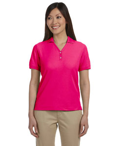Raspberry Women's Pima Piqué Short-Sleeve Y-Collar Polo