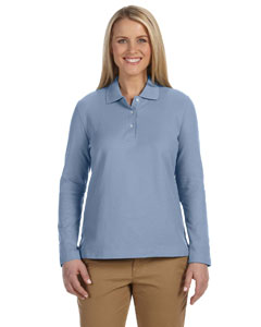 Slate Blue Women's Pima Piqué Long-Sleeve Polo