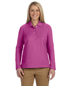 Cerise Women's Pima Piqué Long-Sleeve Polo