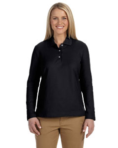 Black Women's Pima Piqué Long-Sleeve Polo