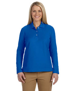 French Blue Women's Pima Piqué Long-Sleeve Polo