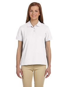 White Women's Pima Piqué Short-Sleeve Polo