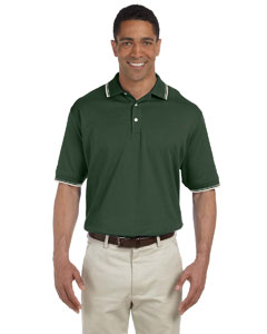 Forest/creme Men's Tipped Perfect Pima Interlock Polo