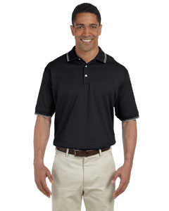 Black/grey Hthr Men's Tipped Perfect Pima Interlock Polo