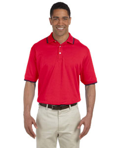 Red/navy Men's Tipped Perfect Pima Interlock Polo