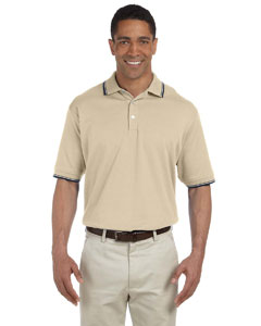 Stone/navy Men's Tipped Perfect Pima Interlock Polo