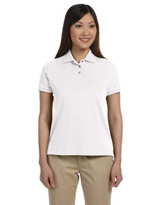 White Women's Solid Perfect Pima Interlock Polo
