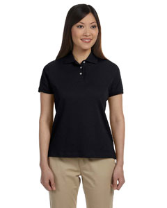 Black Women's Solid Perfect Pima Interlock Polo