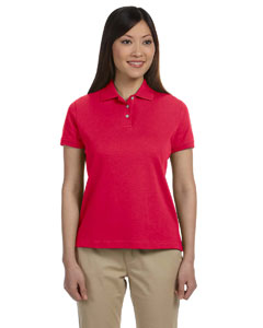 Red Women's Solid Perfect Pima Interlock Polo