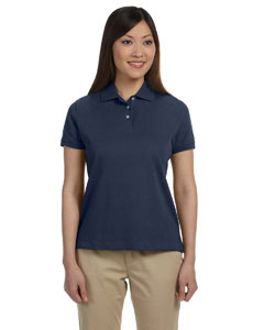 Navy Women's Solid Perfect Pima Interlock Polo