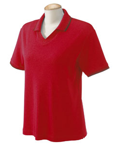 Red/navy Women's Tipped Perfect Pima Interlock Polo