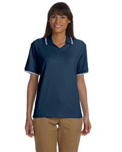 Navy/white Women's Tipped Perfect Pima Interlock Polo