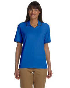 French Blue/navy Women's Tipped Perfect Pima Interlock Polo